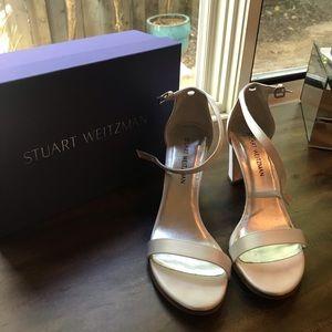 Stuart Weitzman Shoes - Stuart Weitzman Nearly Nude White Satin Heel